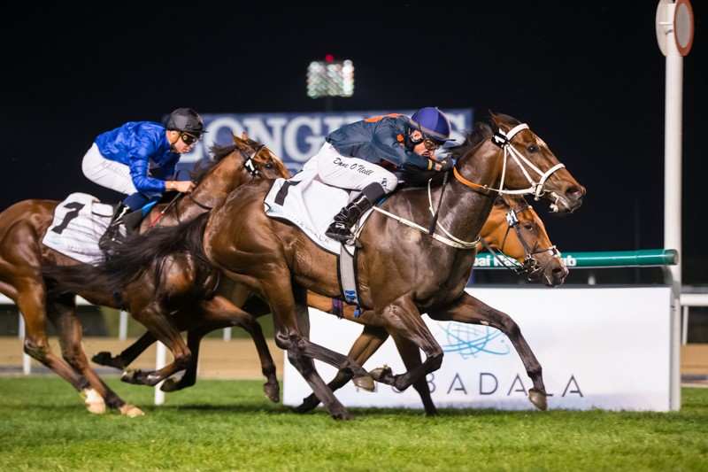Belle Fever (Dane O'Neill) ran on well to win the Meydan Classic Trial. (Emirates Racing).