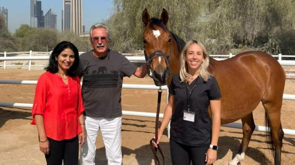 From left: Dr Sunitha Joseph, Dr Ulrich Wernery and Dr Marina Caveney who developed the African horse sickness vaccine. Courtesy: Central Veterinary Research Laboratory. (National News UAE).